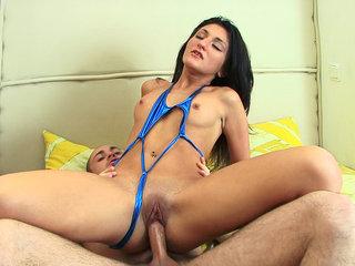 Brunette loves ass riding