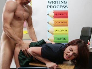 Redhead student gets fucked in clothes