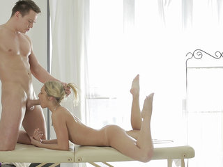 Oiled-up tease and lovemaking